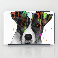 jack russell iPad Cases featuring Jack Russell Dog BW by Marlene Watson