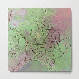 Antalya Street Map Art Watercolor Green Pink Love Metal Print