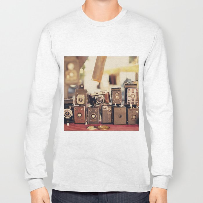 Old Cameras (Vintage and Retro Film Cameras Collection) Long Sleeve T-shirt