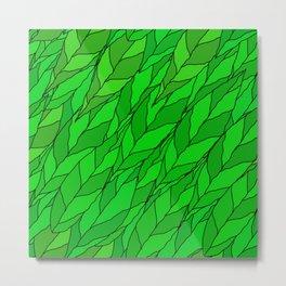 seamless pattern of green leaves Metal Print