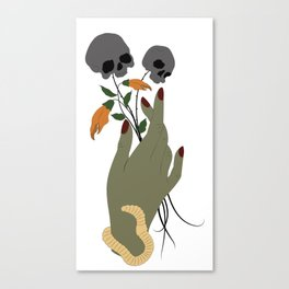 Zombie Girl Hand with Worms and Wilting Flowers Canvas Print