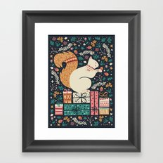 Merry Little Squirrel  Framed Art Print