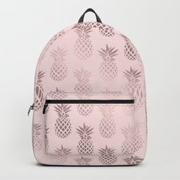 Girly rose gold & blush pink pineapple pattern Backpack