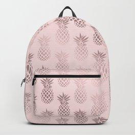 Girly rose gold & blush pink pineapple pattern Backpack