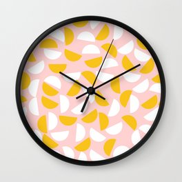 Semi Circles in Mustard and White Wall Clock