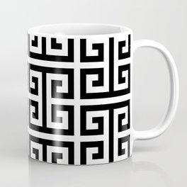 Large Black and White Greek Key Pattern Coffee Mug