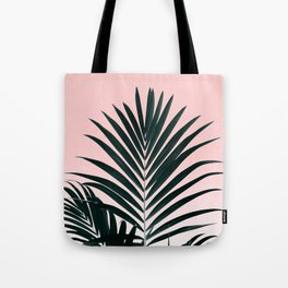 Tropical Green palm tree leaf blush pink gradient photography Tote Bag