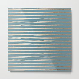 Abstract Stripes Gold Tropical Ocean Blue Metal Print
