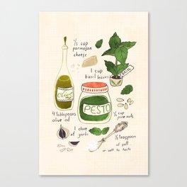 Pesto. Illustrated Recipe. Canvas Print