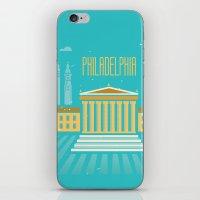 philadelphia iPhone & iPod Skins featuring Philadelphia by Marina Design