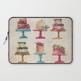 Watercolor Fancy Cakes in Pink and Aqua Laptop Sleeve