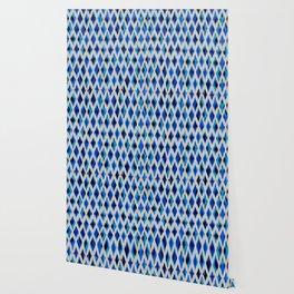light diamond ikat texture on blues Wallpaper