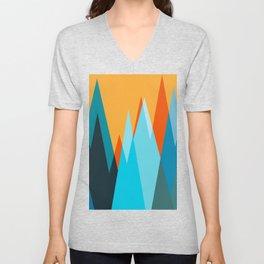 Ice mountain peaks, captivating sunset, geometric landscape design Unisex V-Neck