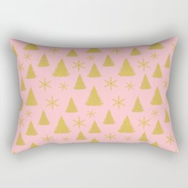 Pink and Gold Christmas Tree Pattern Rectangular Pillow