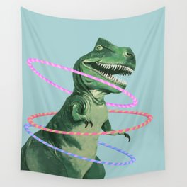T-Rex the Hula Dancer in Green Wall Tapestry