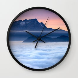 Sea of Fog in the Alps Wall Clock