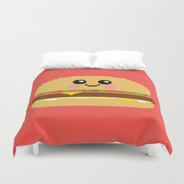 Happy Pixel Hamburger Duvet Cover