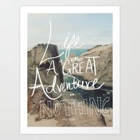 adventure Art Prints featuring Great Adventure by Leah Flores