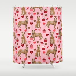 Australian Cattle Dog red heeler valentines day cupcakes hearts love dog breed gifts Shower Curtain