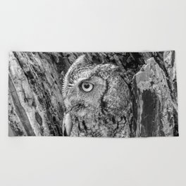 Echo the Screech Owl by Teresa Thompson Beach Towel