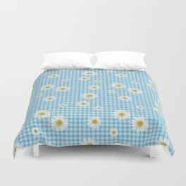 Daisies On Blue Gingham Duvet Cover