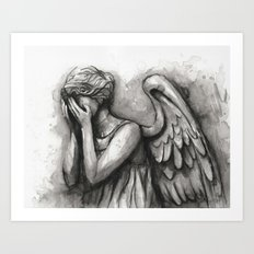 Weeping Angel Watercolor Doctor Who Art Art Print