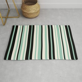 Vertical Stripes Pattern in Black, Mint Green, and Cream Rug