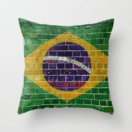 Brazil flag on a brick wall Throw Pillow