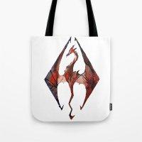 skyrim Tote Bags featuring Skyrim Alduin by Rubis Firenos