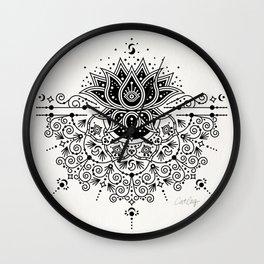 Lotus Blossom Mandala – Black Palette Wall Clock