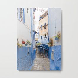 Hidden Alleyways of Chefchaouen, Morocco - The Blue City Metal Print