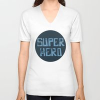 superhero V-neck T-shirts featuring Superhero by Open The Mind