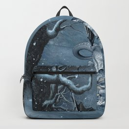 Santa Claus with ice dragon in a winter landscape Backpack