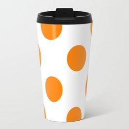 Large Polka Dots - Orange on White Travel Mug