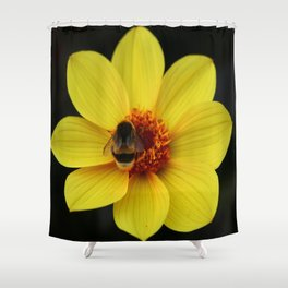 Dahlia  with Bumble Bee Shower Curtain