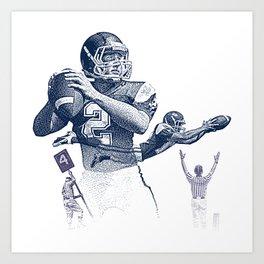 Quarterback throwing a touchdown pass. Art Print