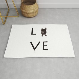 French Bulldog Love dark Rug
