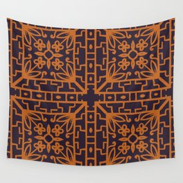 Decorative Floral Pattern 8 - Bleached Cedar, Piper Orange Wall Tapestry