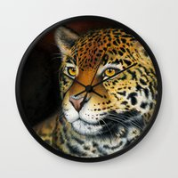 jaguar Wall Clocks featuring Jaguar by Claudia Hahn