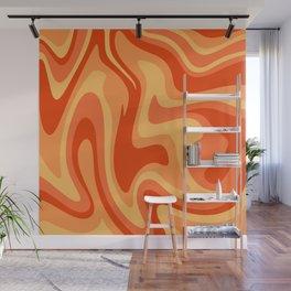 Mid Century Modern Liquid Fire Abstract // Red, Orange, Mustard Yellow Wall Mural