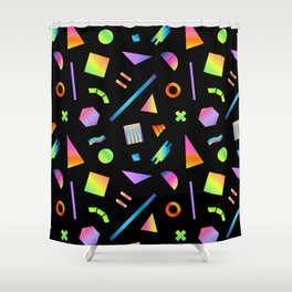 Neon Gradient Postmodern Shapes Shower Curtain