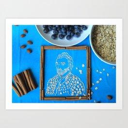 Vincent van Gogh in oatmeal form Art Print
