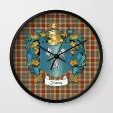 Gibson Coat of Arms and Tartan Wall Clock