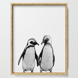 two baby penguin friends Serving Tray