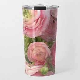 Shabby Chic Cottage Ranunculus Peonies Roses Floral Print Home Decor Travel Mug