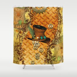 Steampunk, hat with clocks and gears Shower Curtain