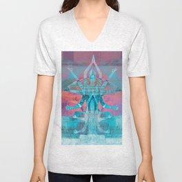 Ancient Goddess Kali Sunset Landscape Print Unisex V-Neck