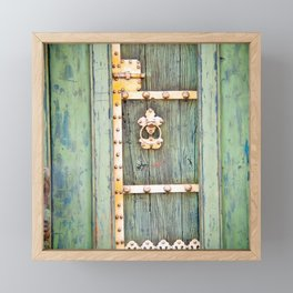 Antique Green Gold Door - Storybook Aesthetic - Cottage Chic - Ecclectic Boho - Travel Photography Framed Mini Art Print