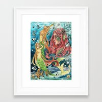 mermaids Framed Art Prints featuring Mermaids by rumpelstiltskinned