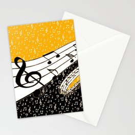 Gold music theme Stationery Cards